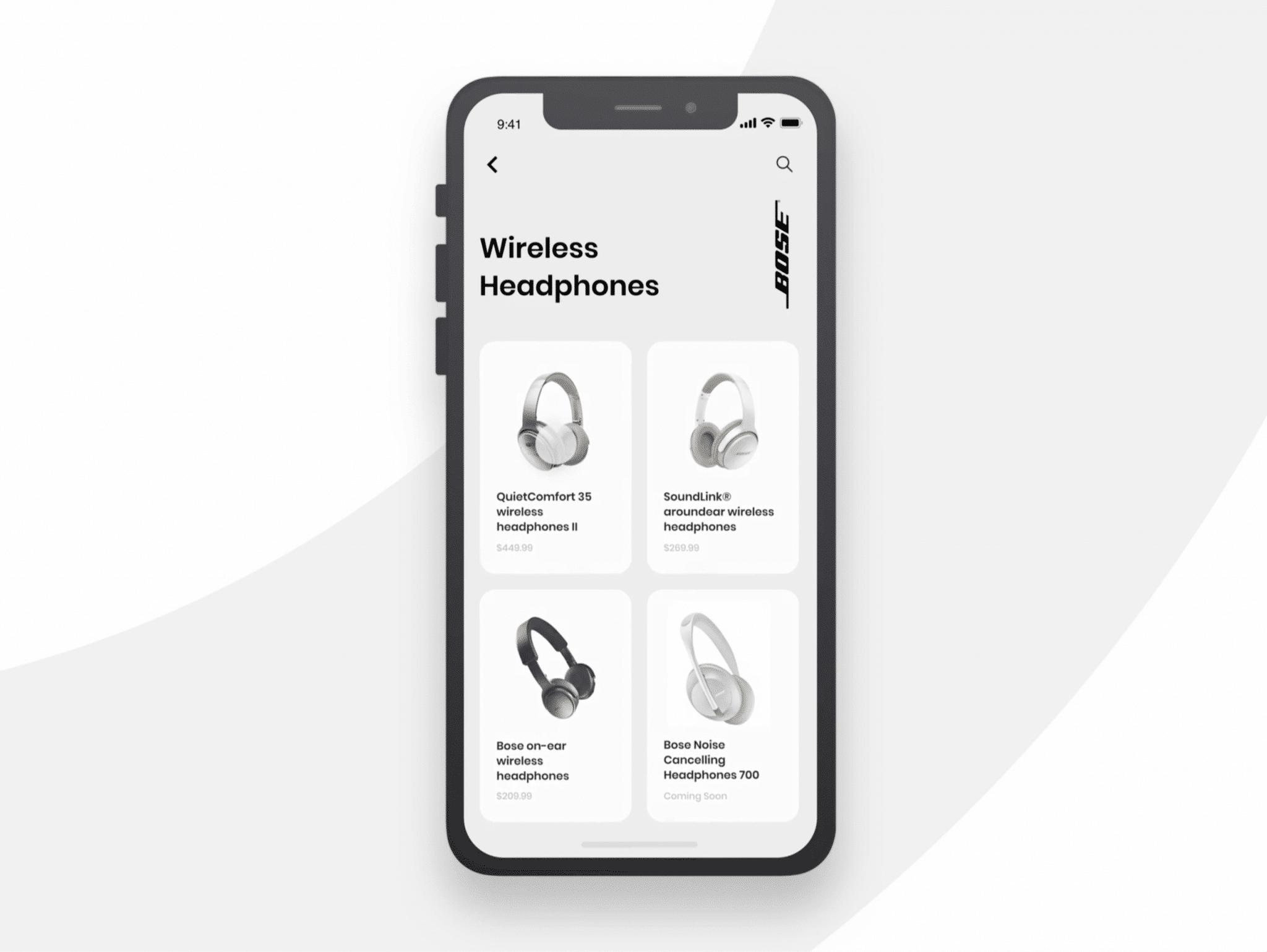Bose headphones app animation